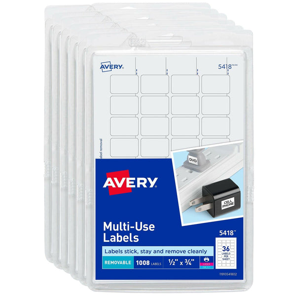 "Avery Self-Adhesive Removable Labels, 1/2"" x 3/4"", White, 6000 Labels (6-Pack..."