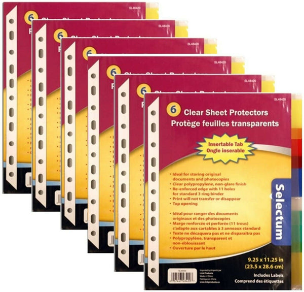 Top Opening Clear Sheet Protector Set, Non-Glare, with 6 Colored Tabs (6)