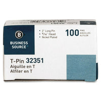 Business Source 32351 T-Pins, 9/16 in. Head Width, 2 in. Length, 100/BX, Silv...