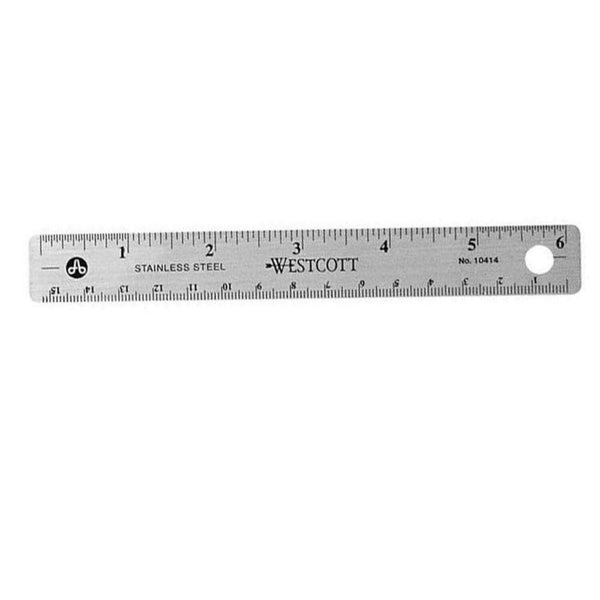 Stainless Steel Office Ruler with Non Slip Cork Base, 6-Inch (New Version)
