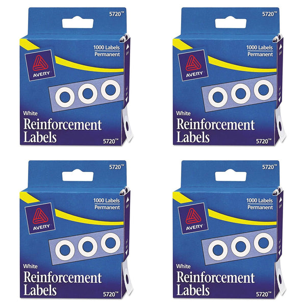 Avery Hole Reinforcements, White, 1000/Pack, PK - AVE05720 Pack of 4