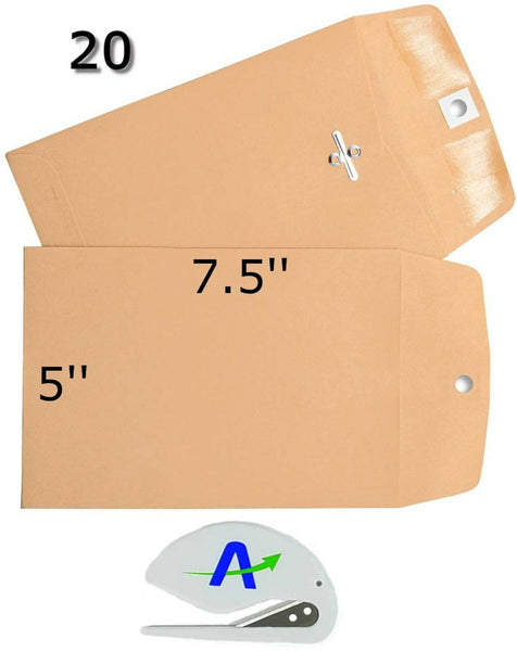 Rilney 20 Pack Clasp Envelopes, 5 in. x 7.5 in, Gummed with Clasp, Includes B...