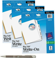 Avery Big Tab Write & Erase Dividers, White Tabs with Bonus Custom Pen, 23075...