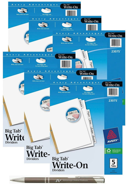 Avery Big Tab Write & Erase Dividers with Bonus AdvantageOP Custom Retractabl...