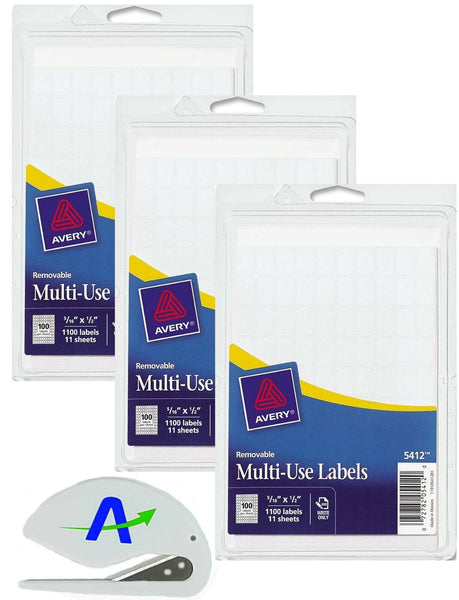 Bundle Avery Removable Rectangular Labels, 0.31 x 0.5 Inches, White, (5412) P...