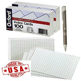 Oxford 02035 Printable Grid Index Cards, 3 x 5, White, 100/Pack, 3 Packs Plus...