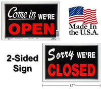 Open Closed Business Sign for Retail Store, Heavy Plastic, 2-Pack, Black, Red...