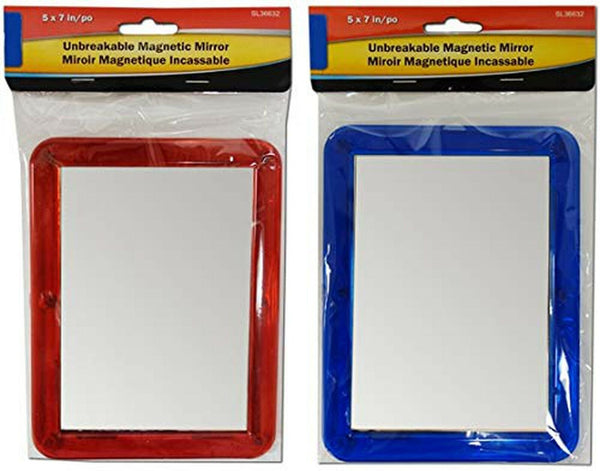 Twin Pack Unbreakable Locker Mirror, Magnetic, 5 x 7 Inch, Plastic Frame