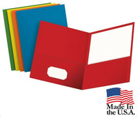5 Oxford 2 Pocket Paper Folder Assorted Colors. Blue, Green, Purple, Red, Yellow
