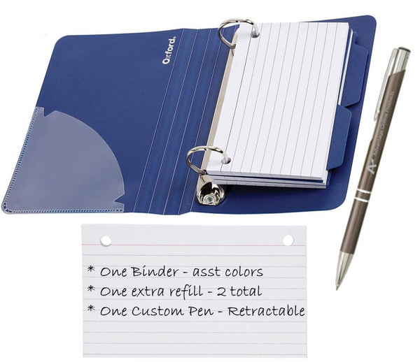 "Oxford Index Card Binder with Dividers, 3"" x 5"", Color Will Vary, 50 Cards,1 Binder (73570),Assorted (Blue, Green, Red) with Additional Refill Included (07350) and Custom Retractable AOPLLC Pen"