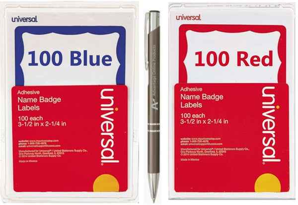 Border Style Self Stick Name Badges, Specifically for Handwriting, 3 1/2 x 2 1/4, 200/Pack (100 Blue,100 Red)