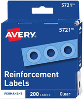 Avery Clear Self-Adhesive Reinforcement Labels, Round, Pack of 200 (5721), 3 Packs with Bonus AOPllc Letter Opener