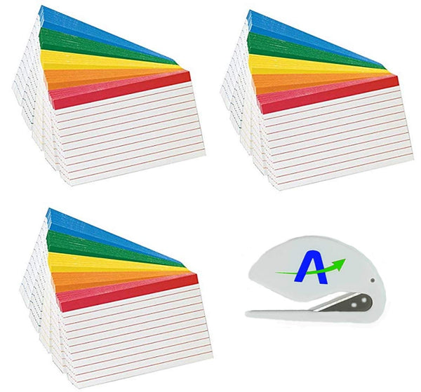 3 Packs Oxford Color Coded Ruled Index Cards, 3 X 5, Assorted Colors, 100 Per Pack, Includes Bonus AdvanageOP Letter Opener