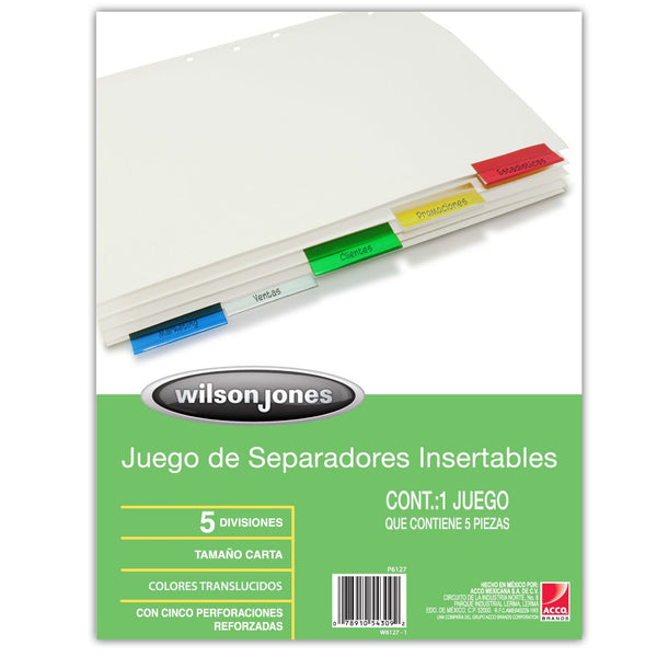 Wilson Jones 54309 Single-Sided Reinforced Insertable Index, Multicolor 5-Tab...