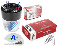 Paper Clip Bundle Includes One Dual Split Paper Clip Holder, One Box of Regular Smooth #1 Paper Clips, One Box of Jumbo Smooth Paper Clips and One Letter Opener