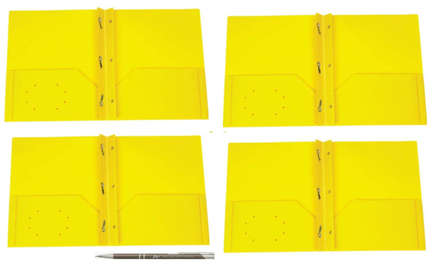 125 Count Oxford Two Pocket Poly Portfolio with Prongs, Letter Size, Tear and Moisture Resistant, (Yellow w/Prongs)