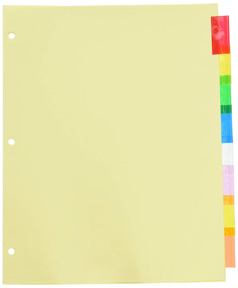Wilson Jones Insertable Binder Tab Dividers, 8 Tab Multicolor (W54311A) - 6 packs of 8 sets