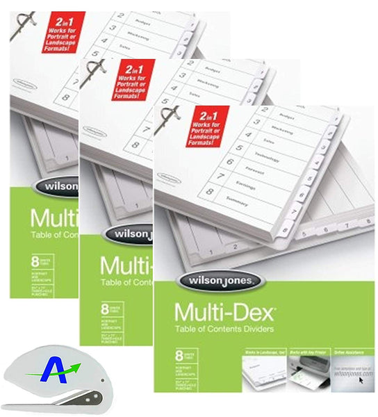 Wilson Jones MultiDex Index Dividers, 8 Tabs, Numbered 1-8, for 8.5 x 11 Inch Sheets, White Tabs Numbered in Black (W90801B) (3)