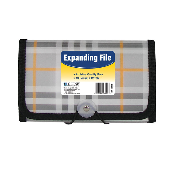C-Line 13-Pocket Expanding File, Coupon Size, Includes Tabs, 1 File, Plaid Design (58412)
