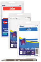 3-Pack Bundle Avery Adhesive Name Badge Labels, Blue, Red, White, 300 Total Badges with Bonus AdvantageOP Custom Retractable Pen