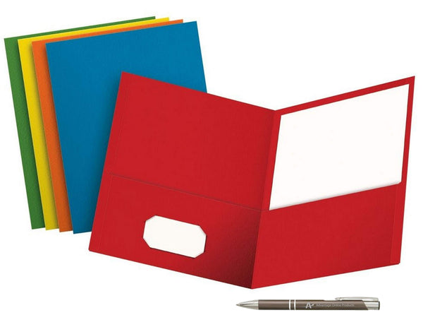 Value Pack of 5 School Grade Twin Pocket Folders; No Fasteners, 5 Colors and a Bonus AdvantageOP Black and Chrome Retractable Pen. (Blue, Green, Purple, Red, Yellow)