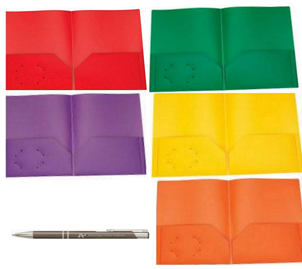 Rilney Poly Plastic Portfolio School Report Covers, No Prongs, 8.5 x 11, Asst Colors Include Green, Orange, Purple, Red and Yellow, Durable, Spill Resistant/Water Resistant (5) with Bonus Custom Pen