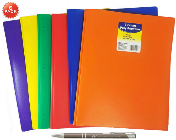 6-Pack 2 Pocket Heavyweight Poly Portfolio with Prongs, Letter Size, 5-Pack with One of Each Blue, Green, Orange, Purple, Red and Yellow with Bonus Custom AdvantageOP Retractable Pen
