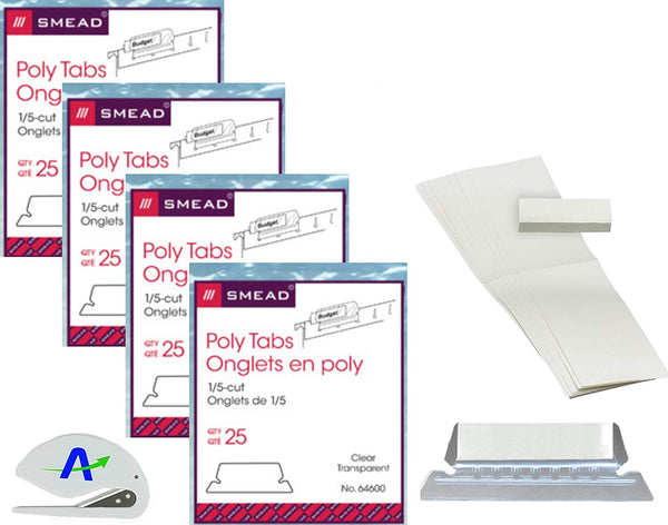 Smead Poly Tab, 1/5-Cut, Clear, 4 Pack Bundle, 25 Per Pack (64600) 100 Total Tabs and Inserts