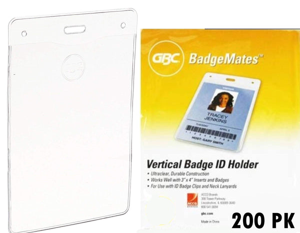 100 Pack GBC BadgeMates, Vertical Holders, 4 inch x 3 inch, Clear, Works Well with Lanyards and Clips (200 Pack)