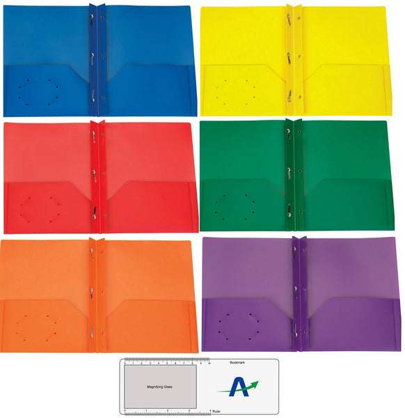 Rilney Poly Plastic Portfolio School Report Covers, No Prongs, 8.5 x 11, Asst Colors Include Blue, Orange, Purple, Yellow, Green and Red are Durable, Spill Resistant/Water Resistant (6)