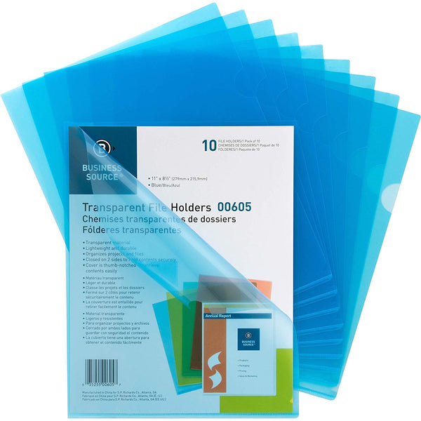Business Source Transparent Poly File Holders, 4 Pack