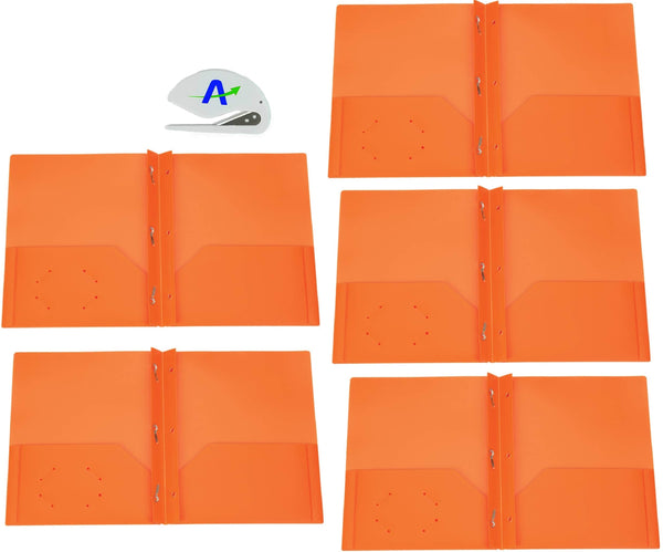 5 Pack Brilney Two-Pocket Heavyweight Poly Portfolio with Prongs, for Letter Size Papers, Includes Business Card Slot, Solid Colors, Includes Bonus Custom AdvantageOP Letter Opener (5 Orange)