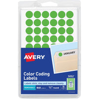 Removable Color Coding Labels, 4 Packs of 840,4 Colors Shown, Half Inch Round, Great for Yard Sales, Garage Sales, Inventory