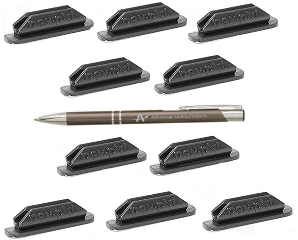 Pen Pal Pen Holders, Self Adhesive and Removable, Plus Bonus AdvantageOP LLC Custom Made Retractable Gunmetal and Chrome Pen. Gray Only (100)