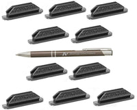 Pen Pal Pen Holders, Self Adhesive and Removable, Plus Bonus AdvantageOP LLC Custom Made Retractable Gunmetal and Chrome Pen. Gray Only (10)