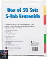 Laminated Write-On Tab Indexes, Bulk Box of 50 Sets, Erasable, Made in USA (5 Tab)