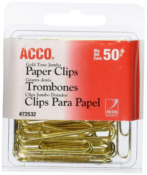 ACCO Paper Clips, Jumbo, Smooth, Gold, 50 Clips/Box, 24 Boxes per Pack (1100 Clips Total)