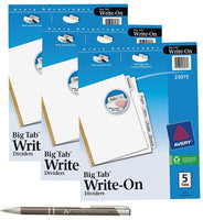 Avery Big Tab Write & Erase Dividers, White Tabs with Bonus Custom Pen, 23075 (3 Packs of 5 Tabs)
