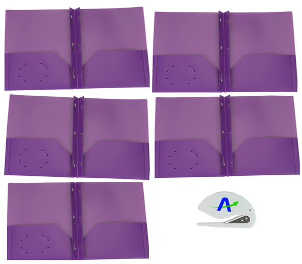 5 Pack Brilney Two-Pocket Heavyweight Poly Portfolio with Prongs, for Letter Size Papers, Includes Business Card Slot, Solid Colors, Includes Bonus Custom AdvantageOP Letter Opener (5 Purple)