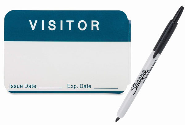Visitors Name Badge, Blue/White, 2.25 x 3.5, with Issue Date and Expiration Date, Includes Bonus Black Retractable Sharpie