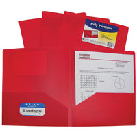 C-Line Two-Pocket Heavyweight Poly Portfolio, For Letter Size Papers, Includes Business Card Slot, 1 Case of 25 Portfolios, Red (33954-25)