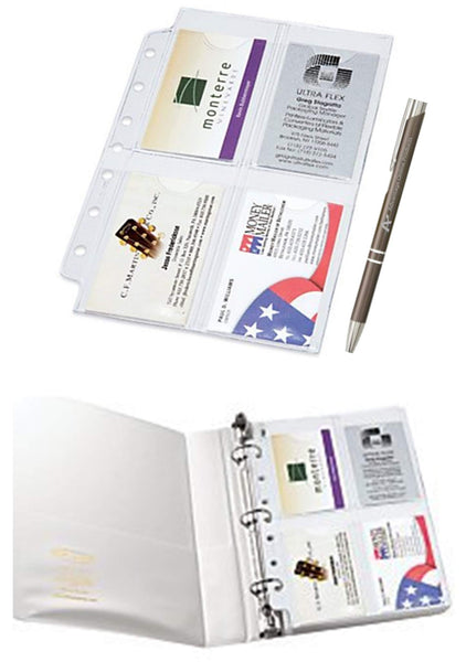 Business Card Binder Pages for 5.5 inch x 8.5 inch Binders and Planners, 2 Packs, Enough to Hold 40 Business Cards. Includes Bonus AdvantageOP Custom Retractable Pen. (W21518)
