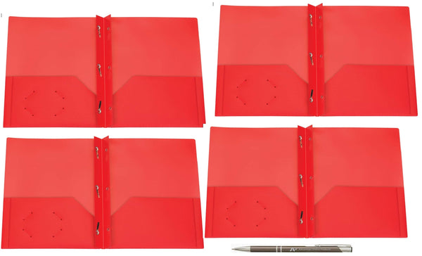 125 Count Oxford Two Pocket Poly Portfolio with Prongs, Letter Size, Tear and Moisture Resistant, (Red w/Prongs)