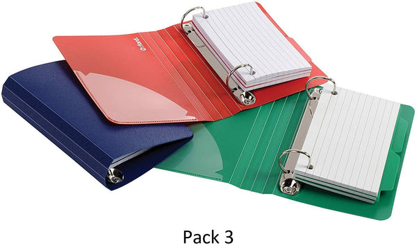 "Oxford Index Card Binder with Dividers, 3"" x 5"", Color Will Vary, 50 Cards, 1 Binder, 3 Pack"