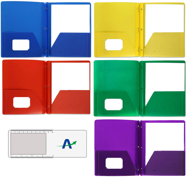 Two Pocket Poly Portfolios, Tear and Moisture Resistant, Pack of 5, 1 of Each Color Shown with Bonus Bookmark/Magnifier/Ruler (with Prong Fasteners)