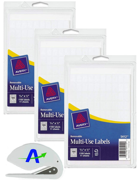 Bundle Avery Removable Rectangular Labels, 0.31 x 0.5 Inches, White, (5412) Plus Bonus AdvantageOP Letter Opener (3 Packs = 3,300 Total Labels)