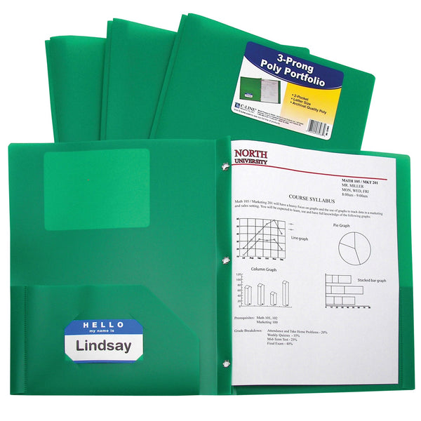 C-Line Two-Pocket Heavyweight Poly Portfolio with Prongs, For Letter Size Papers, Includes Business Card Slot, 1 Case of 25 Portfolios, Green (33963-25)