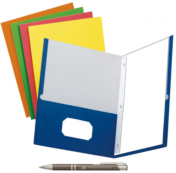 Pack of 5 School Grade Twin Pocket Folders with Prong Fasteners, 5 Colors with AdvantageOP Black and Chrome Retractable Pen. (Blue, Green, Purple, Red, Yellow)