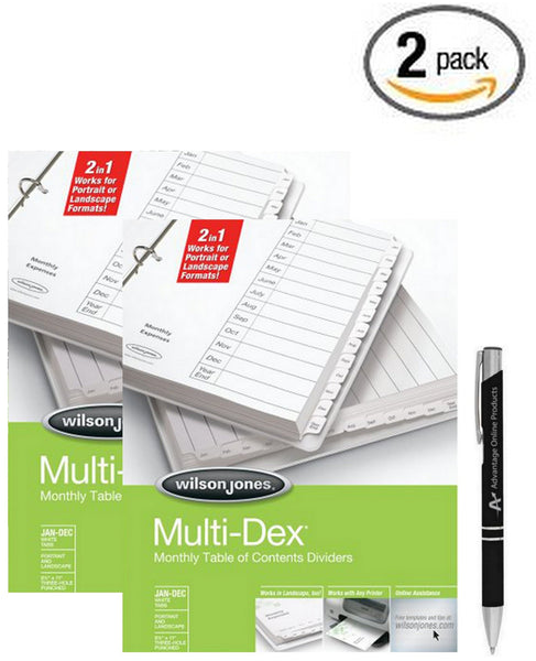 Wilson Jones MultiDex Index Dividers, January - December Tabs, for 8.5 x 11 Inch Sheets, White Tabs Numbered in Black (90301) with Bonus AdvantageOP Black and Chrome Retractable Pen
