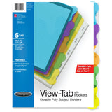 Wilson Jones View-Tab Transparent Dividers, Student Index with Pockets, 5-Tab Set, Multicolor Tabs (W55082)